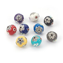 Handmade Indonesia Beads, with Metal Findings, Round with Flower, Antique Silver, Mixed Color, 15~16x13~14mm, Hole: 2mm(IPDL-E012-24)