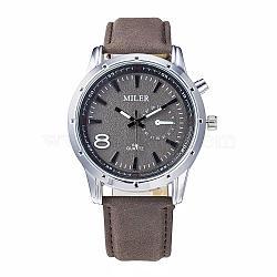 Нержавеющая сталь высокого качества кожа наручные часы, кварцевые часы, верблюжие, 255x21 мм; головка часы: 51x48x12 мм(WACH-N008-03A)
