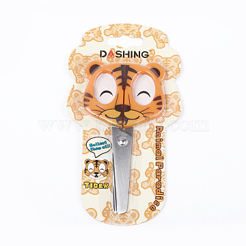 Stainless Steel Craft Scissors for Kids, with Plastic Handle, for Sewing, Crafting, DIY Projects, Tiger, Orange, 136x69mm(X-TOOL-WH0119-68D)