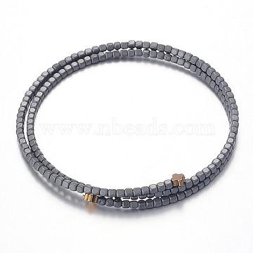 2-Loop Non-Magnetic Synthetic Hematite Beaded Bracelets, Black, 60mm(G-F230-22)