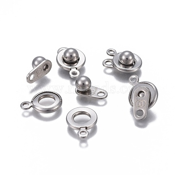304 Stainless Steel Snap Clasps, Flat Round, Stainless Steel Color, 12.5x9x5mm, Hole: 1.5~1.8mm(STAS-P236-34P)