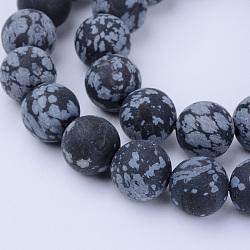 """Chapelets de perles de flocon de neige en obsidienne naturelle, mat, rond, 10~10.5mm, trou: 1.2mm; environ 36 pcs/chapelet, 15.5""""(X-G-Q462-10mm-10)"""
