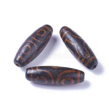 Tibetan Style 3-Eye dZi Beads, Natural Agate Beads, Rice, 28~30x9.5~10.5mm, Hole: 1.5~2mm(G-I233-A01)