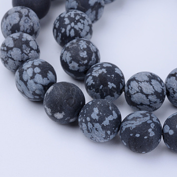 Natural Snowflake Obsidian Beads Strands, Frosted, Round, 10~10.5mm, Hole: 1.2mm; about 36pcs/strand, 15.5inches(X-G-Q462-10mm-10)