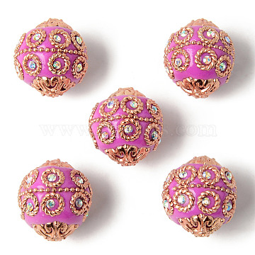 Handmade Indonesia Beads, with Metal Findings, Light Gold Color Plated, Round, Camellia, 20~21x19~20mm, Hole: 1.5mm(IPDL-P003-17N)