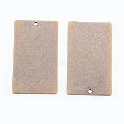 étiquettes métalliques, laiton estampage pendentifs d'étiquette vierge, rectangle, bronze antique, 32x18x0.5 mm, trou: 1 mm(X-KK-N0001-05AB)
