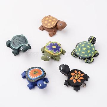 Handmade Polymer Clay Pendants, Tortoises, Mixed Color, 19x26mm, Hole: 2mm(X-F015H081)