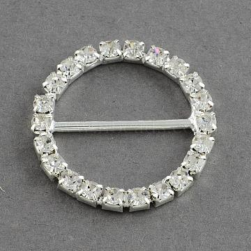 Shining Wedding Invitation Ribbon Buckles, Brass Grade A Rhinestone Garment, Dress Slide Buckles, Ring, Silver Color Plated, Crystal, 26x3mm, Hole: 20x10mm(X-RB-S019-22)