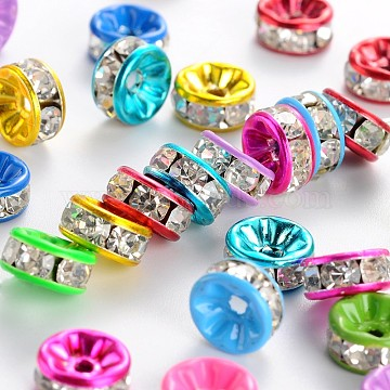Painted Brass Rhinestone Spacer Beads, Grade A, Straight Edge, Rondelle, Mixed Color, 8x4mm, Hole: 2mm(X-RB-S010-8mm-M)