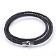 Three Loops Braided Leather Cord Wrap Bracelets(BJEW-F291-12B)-1