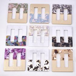 Boucles en aluminium et acétate de cellulose (résine), rectangle, couleur mixte, 69.5x60.5x4.5~5mm, Trou: 43x12mm(ALUM-S016-03A)