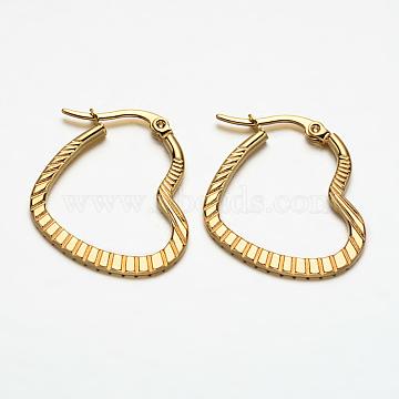 Heart 304 Stainless Steel Hoop Earrings, Hypoallergenic Earrings, Golden, 27x23x2mm, Pin: 1x0.5mm(X-EJEW-N034-29)
