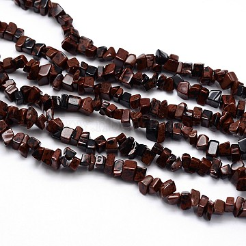 Natural Mahogany Obsidian Beads Strands, Chips, 3~5x3~5mm, Hole: 1mm; about 31.5inches(X-G-O049-A-32)