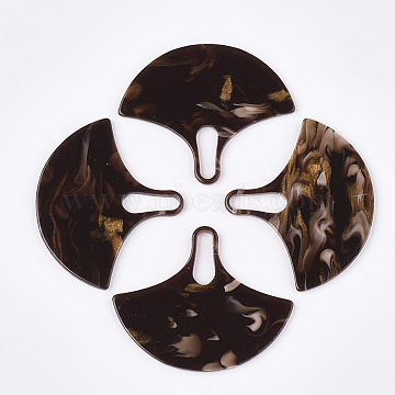 Cellulose Acetate(Resin) Pendants, Ginkgo Leaf, CoconutBrown, 43x51.5x2mm, Hole: 16x4.5mm(X-KY-S158-53B)