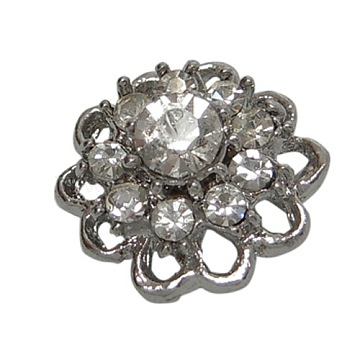 Alloy with Grade A Mideast Rhinestone Multi-Strand Links, Platinum, Flower, Size: about 13mm wide,14mm long,8.5mm thick, hole:1.5mm(X-BSAH064)