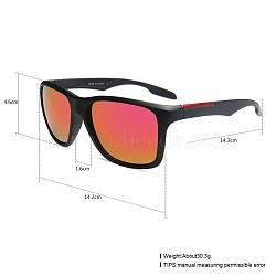 унисекс наружные солнцезащитные очки, пластиковые рамы и смоляные линзы, прямоугольник, черный, красный, 14.4x5.2 cm(SG-BB27709-6)