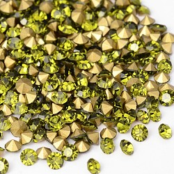 Strass de grade A de dos en plaqué de diamand en verre, olivine, 1.9~2 mm; environ 1440 PCs / sac(RGLA-SS6-008)