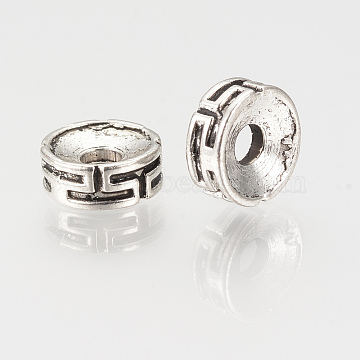 Tibetan Style Spacer Beads, Flat Round, Cadmium Free & Lead Free, Antique Silver, 7.5x3mm, Hole: 2mm(X-TIBEP-S315-46AS-RS)