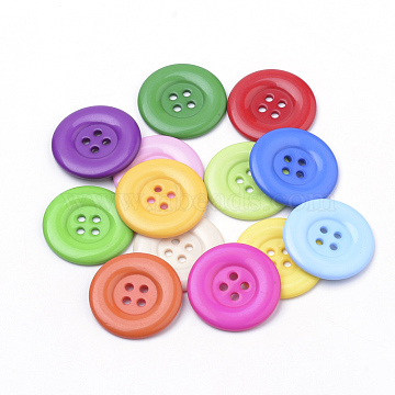 4-Hole Acrylic Buttons, Flat Round, Mixed Color, 34x3mm, Hole: 3mm(BUTT-Q038-35mm-M)