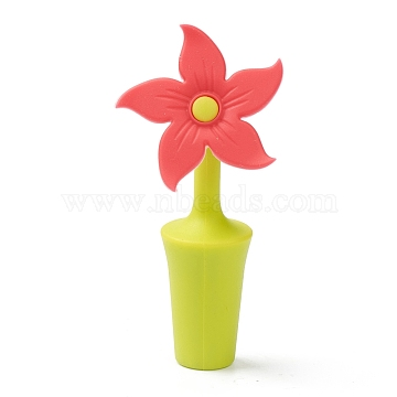 Silicone Wine Bottle Stoppers, Flower, Red, 91x44x24mm, Hole: 7.5mm(FIND-B001-03A)