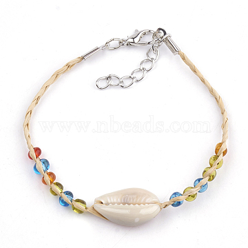 Handmade Braided Raffia Bracelets, Lucky Bracelets, with Cowrie Shell & Silver Lined Seed Beads, Iron Lobster Clasp and Extender Chains, Seashell Color, 6-3/4inches~7-1/8inches(17cm~18cm)(AJEW-S072-25)