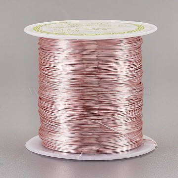 Copper Craft Wire Copper Beading Wire, Long-Lasting Plated, Pink, 26 Gauge, 0.4mm, about 124.67 Feet(38m)/roll(CWIR-F001-RG-0.4mm)