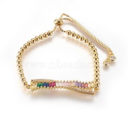 """Bracelets réglables en laiton à zircon cubique, bracelets bolo, avec des chaînes et des perles rondes, bowknot, or, colorées, 10-1/4"""" (26 cm)(BJEW-L652-02G)"""