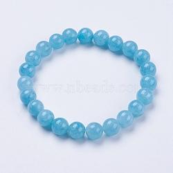 """Aigue-marine naturelle bracelets extensibles de perles, rond, teint, 2"""" (52 mm)(BJEW-I253-8mm-12)"""