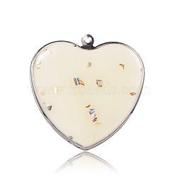 pendentifs coeur en émail de fer de tonalité de platine, avec des morceaux de coquille à l'intérieur, blanc crème, 43x42x1.5 mm, trou: 2 mm(IFIN-J044-01P)