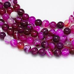 Round Dyed Natural Striped Agate/Banded Agate Beads Strands, Fuchsia, 6mm, Hole: 1mm; about 62pcs/strand, 14.8