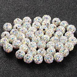 Pave Disco Ball Beads, Polymer Clay Rhinestone Beads, Grade A, Round, Crystal AB, 6mm, Hole: 0.8mm(RB-Q195-A6mm-AB)