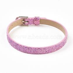 """Bracelet en cuir pu, ceinture de montre, Fit charms slide, avec des agrafes de fer, platine, violette, 8-5/8"""" (22cm); 7.5x1.5mm(BJEW-E350-10B)"""