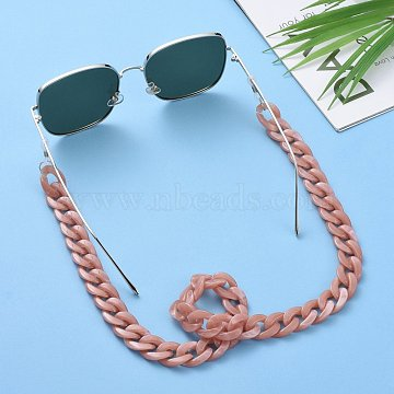 Eyeglasses Chains, Neck Strap for Eyeglasses, with Acrylic Curb Chains, 304 Stainless Steel Jump Rings and Rubber Loop Ends, Rosy Brown, 27.56 inches(70cm)(AJEW-AL0009-06)