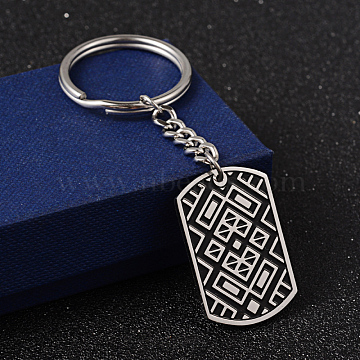 304 Stainless Steel Enamel Keychain, Faceted, Rectangle, Stainless Steel Color,90x3mm(X-KEYC-O012-05P)