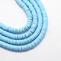 perles d'argile polymère faites à la main écologiques, disque / rond plat, perles heishi, bleu ciel clair, 4x1 mm, trou: 1 mm, environ 380~400 pcs / brin, 17.7 pouces