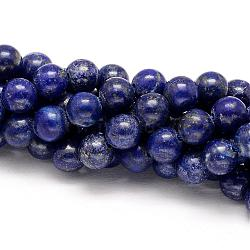 Natural Lapis Lazuli Round Beads Strands, 4mm, Hole: 0.8mm; about 89pcs/strand, 15.5 inches