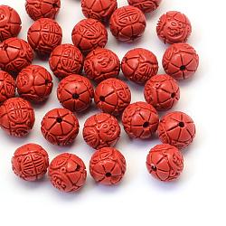 Раунд / бутон цветка киноварь шарики, огнеупорный кирпич, 14~15x13 мм, отверстие : 2 мм(CARL-Q003-41D)