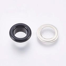 выводы люверса с железной втулкой, для изготовления пакетов, плоские круглые, платина, черный, 8x4.3 mm, Внутренний диаметр: 4 mm(IFIN-WH0023-C02)