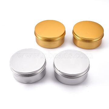 Defective Closeout Sale, Round Aluminium Tin Cans, Aluminium Jar, Storage Containers for Cosmetic, Candles, Candies, with Screw Top Lid, Platinum & Golden, 8.6x3.75cm; Inner diameter: 7.8cm; Capacity: 150ml(CON-XCP0002-03)