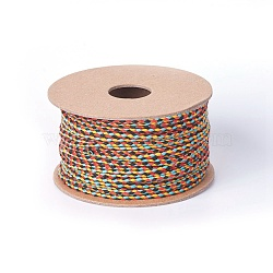 Cotton Braided Cords, Macrame Cord, Colorful, 2mm; about 20m/roll(OCOR-F010-C07)