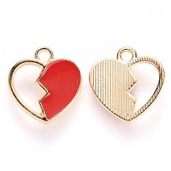 Alloy Enamel Charms, Broken Heart Shape, Light Gold, Red, 15x14x3mm, Hole: 1.6mm