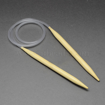 Rubber Wire Bamboo Circular Knitting Needles, More Size Available, Light Yellow, 780~800x3.25mm(TOOL-R056-3.25mm-01)