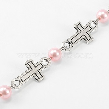 Handmade Round Glass Pearl Beads Chains for Necklaces Bracelets Making, with Tibetan Style Alloy Cross Links and Iron Eye Pin, Unwelded, Pink, 39.3 inches(AJEW-JB00075-04)