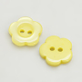 Resin Buttons, Dyed, Flower, Yellow, 11x2.4mm, Hole: 1.6~1.8mm; about 1000pcs/bag