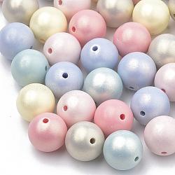 Perles acryliques de style peint par pulvérisation, caoutchouté, rond, couleur mixte, 10mm, Trou: 1.5mm(X-MACR-T010-10mm)