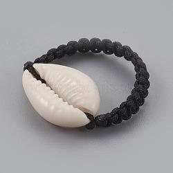 Cauris anneaux, avec du fil de nylon cordon, noir, 20mm(RJEW-JR00242)