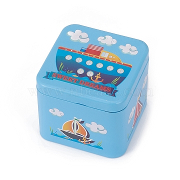 Tinplate Storage Box, Jewelry Box, for DIY Candles, Dry Storage, Spices, Tea, Candy, Party Favors, Square with Cruise Ship Pattern, SkyBlue, 7.5x7.5x6.5cm(CON-G005-C02)