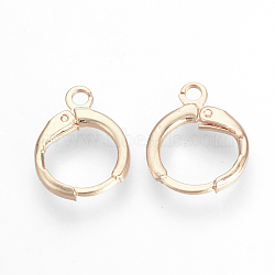 Brass Leverback Earring Findings, with Loop, Rose Gold, 15x11.5x2mm, Hole: 2mm; Pin: 1mm(X-KK-R071-08RG)