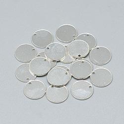 925 breloques en argent sterling, plat rond, argent, 10x1 mm, trou: 1 mm(X-STER-T002-278S)