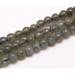 Grade AA Natural Gemstone Labradorite Round Beads Strands, 4mm, Hole: 1mm; about 92pcs/strand, 15.5inches